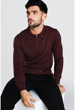 Burgundy Long Sleeve Half Zip Polo Neck Jumper