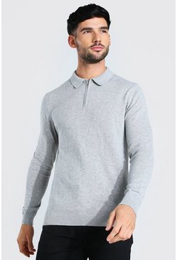 Light grey Long Sleeve Half Zip Polo Neck Jumper