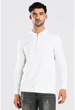 White Long Sleeve Half Zip Polo Neck Jumper