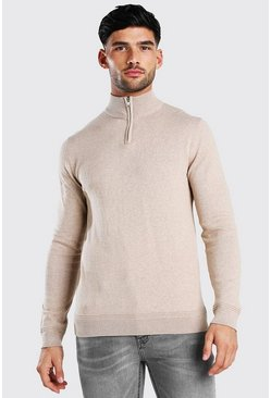 Stone Long Sleeve Half Zip Turtle Neck Jumper