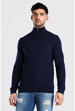 Navy Long Sleeve Half Zip Turtle Neck Jumper
