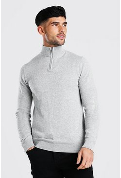 Light grey Long Sleeve Half Zip Turtle Neck Jumper