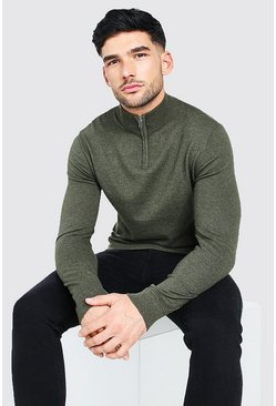 Olive Long Sleeve Half Zip Turtle Neck Jumper