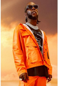 Veste de treillis à 4 poches Burna Boy, Orange