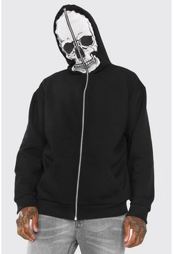 Black Oversized Skull Zip Through Hoodie With Mesh Face