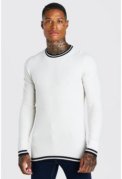 Muscle Fit Ribbed Crew Neck With Stripes, Cream