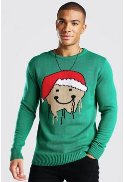 Bottle green Gingerbread Drip Face Christmas Jumper