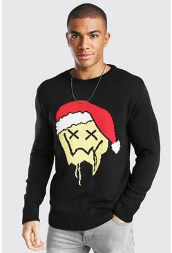 Drip Face Christmas Jumper, Black