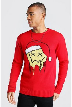 Red Drip Face Christmas Jumper