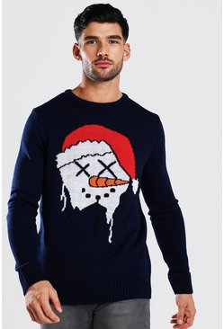 Navy Snowman Drip Face Christmas Jumper