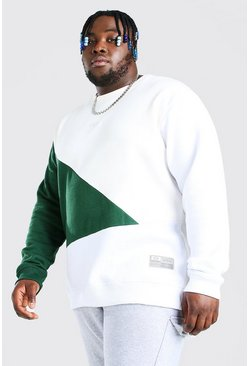 Plus Size MAN Script Colour Block Sweater, Green