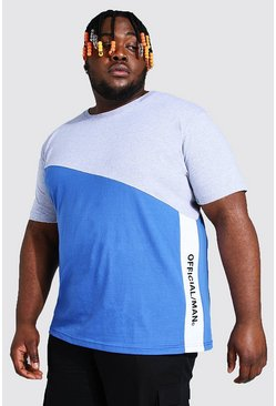 Plus Size Official MAN Colour Block T-Shirt, Grey