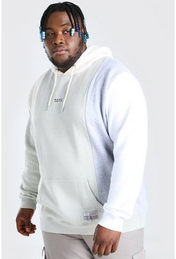 Ecru Plus Size MAN Dash Colour Block Hoodie