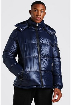 High Shine Hooded Puffer Jacket, Navy