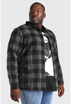 Charcoal Plus Size Long Sleeve Check Shirt