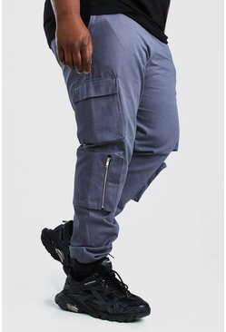 Slate Plus Size Multi Cargo Pocket Woven Jogger