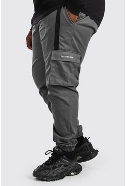 Slate Plus Size Woven 3D Cargo Jogger With Strap