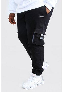 Black Plus Size MAN Woven Cargo Jogger With Tab
