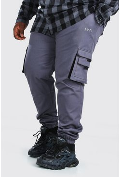 Slate Plus Size MAN Woven Cargo Jogger With Tab