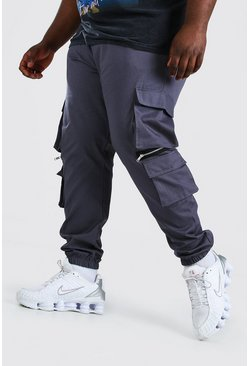 Slate Plus Size MAN Cargo Jogger With Zips