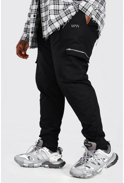 Black Plus Size Adjustable Cuff MAN Cargo Jogger