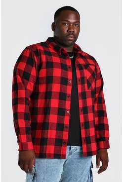 Red Plus Size Long Sleeve Check Shirt