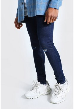 Indigo Super Skinny Jeans With Slash Knee