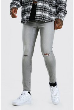 Grey Super Skinny Jeans With Slash Knee