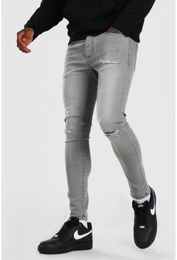 Grey Super Skinny Jeans With Multi Rip