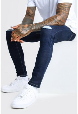 Indigo Skinny Jeans With Multi Rip