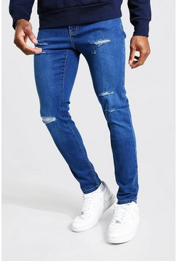 Mid blue Skinny Jeans With All Over Rips