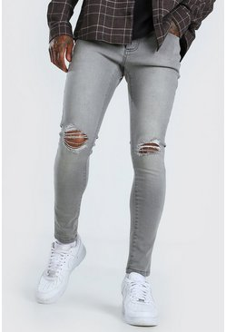 Grey Super Skinny Jeans With Ripped Knees