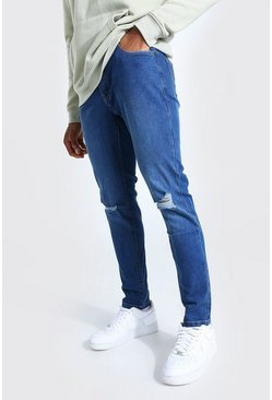 Mid blue Skinny Jeans With Ripped Knees