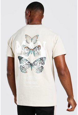 Butterfly Back Print Camo T-Shirt, Stone