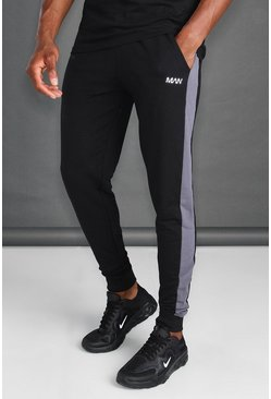 MAN Active Skinny Fit Side Panel Joggers, Black