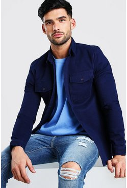 Navy Long Sleeve Muscle Fit Overshirt