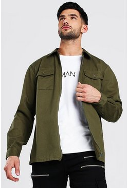 Khaki Long Sleeve Twill Zip Overshirt