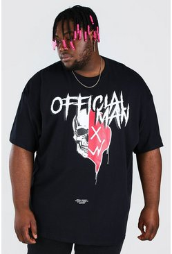 Black Plus Size Halloween Spliced Skull T-Shirt