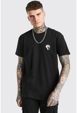 Black Oversized Statue Embroidery T-Shirt