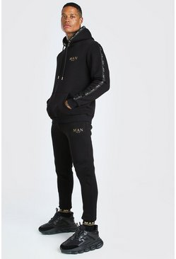 Black MAN Gold Hooded Tracksuit With Metallic Tape