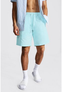 Light blue Elastic Waist Relaxed Fit Chino Short