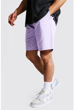 Lilac Elastic Waist Relaxed Fit Chino Short