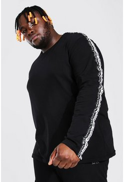 Black Plus Size MAN Long Sleeve Tape T-Shirt