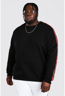 Black Plus Size MAN Official Double Tape Sweater