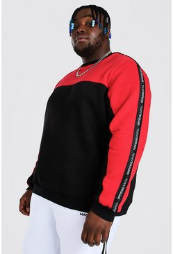 Black Plus Size MAN Colour Block Tape Sweater