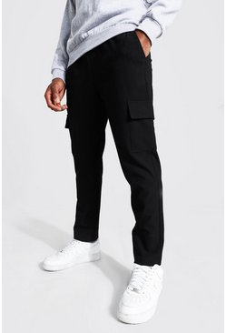 Black Skinny Plain Cargo Smart Cropped Jogger Trouser