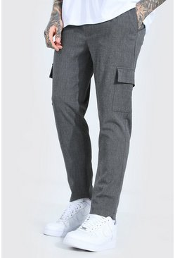 Grey Skinny Plain Cargo Smart Cropped Jogger Pants