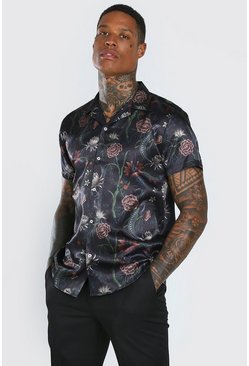 Black Short Sleeve Revere Collar Satin Floral Shirt
