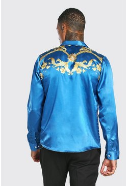 Blue Long Sleeve Regular Collar Satin Back Panel Shirt