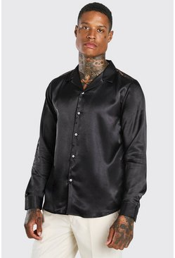 Black Long Sleeve Revere Collar Back Panel Satin Shirt